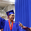 """Ryan Ziliotto holds up his pointer finger as he says """"last one,"""" after being the final Kokomo High School 2018 graduate to cross the stage on Friday, June 1, 2018.<br /> Kelly Lafferty Gerber 