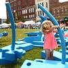 Mattison Bunn, 2, plays in the Kokomo-Howard County Public Library's Imagination Playground during the Strawberry Festival in downtown Kokomo on Friday, June 1, 2018.<br /> Kelly Lafferty Gerber | Kokomo Tribune