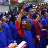 Destiny Hamlin cheers as the Kokomo High School class of 2018 officially became graduates on Friday, June 1, 2018.<br /> Kelly Lafferty Gerber | Kokomo Tribune