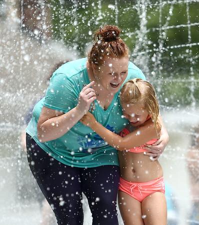 Water spray at Highland Park on Wednesday, June 27, 2018.<br /> Kelly Lafferty Gerber | Kokomo Tribune