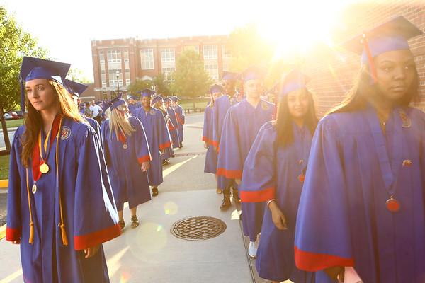 Graduates line up outside of Memorial Gym and file in for the Kokomo High School 2018 graduation on Friday, June 1, 2018.<br /> Kelly Lafferty Gerber | Kokomo Tribune