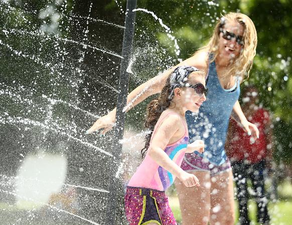 Water spray at Highland Park on Wednesday, June 27, 2018.<br /> Kelly Lafferty Gerber   Kokomo Tribune