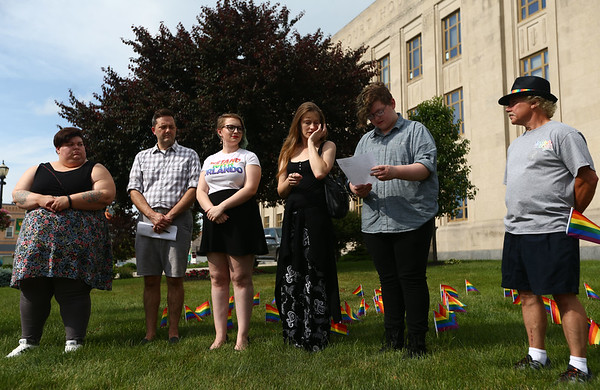 """""""Disarm Hate Vigil"""" at the Howard County Courthouse on Tuesday, June 12, 2018, meant to honor the victims of two specific mass shootings, one in Orlando, the other in South Carolina. <br /> Kelly Lafferty Gerber   Kokomo Tribune"""