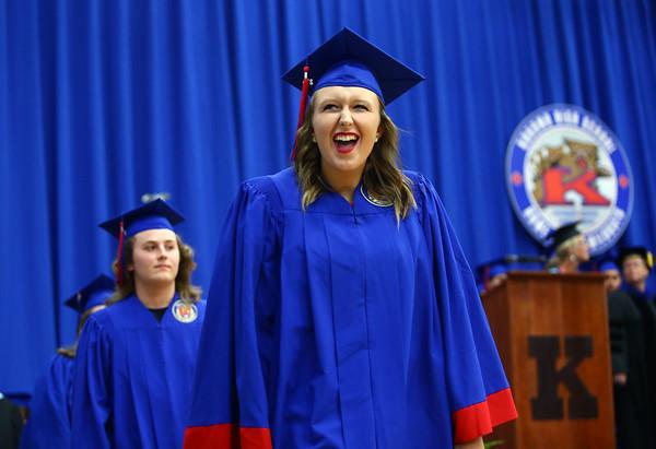 Drew Mackey glances into the crowd at Memorial Gym as she enters the Kokomo High School 2018 graduation ceremony on Friday, June 1, 2018.<br /> Kelly Lafferty Gerber | Kokomo Tribune