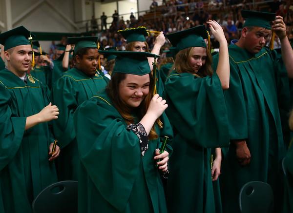 Hunter Fowler turns her tassel at the end of the Eastern High School graduation on Sunday, June 3, 2018.<br /> Kelly Lafferty Gerber | Kokomo Tribune