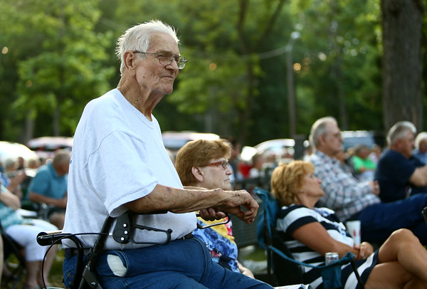 "Carol Thieke, a Korean War veteran, is honored alongside other veterans during the Kokomo Park Band season opener ""Summer Nights"" at Highland Park on Wednesday, June 6, 2018.<br /> Kelly Lafferty Gerber | Kokomo Tribune"