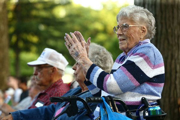 Georgia Simmons, 96, applauds after a song by the Kokomo Park Band during their season opener at Highland Park on Wednesday, June 6, 2018.<br /> Kelly Lafferty Gerber | Kokomo Tribune