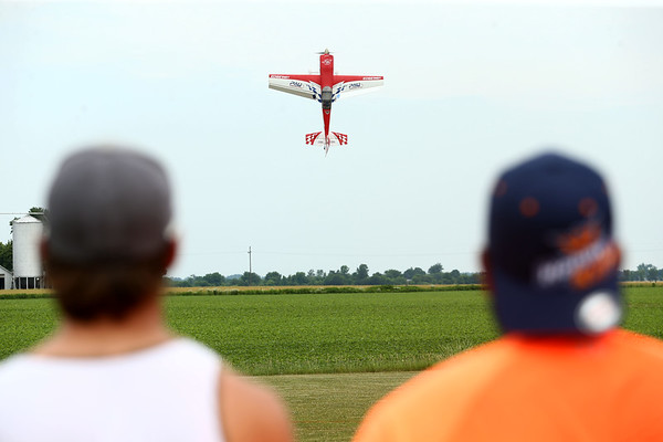 A radio control plane flies over the Converse Aiport during a meeting of the Converse Flying Eagles R/C Club on Saturday, June 16, 2018.<br /> Kelly Lafferty Gerber   Kokomo Tribune