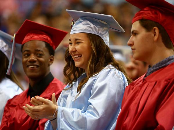 Mikaylie Whybrew applauds a speech during Maconaquah High School's graduation on Saturday, June 2, 2018.<br /> Kelly Lafferty Gerber   Kokomo Tribune
