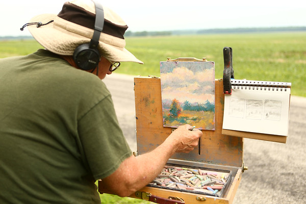 Avon Waters uses Richvalley, located in Wabash County, as inspiration for his pastel piece on June 8.<br /> Kelly Lafferty Gerber | Kokomo Tribune
