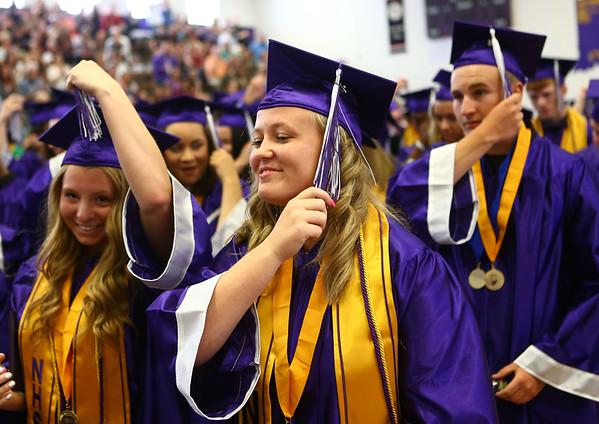 Kelli Gill turns her tassel at the end of the Northwestern High School 2018 graduation on Saturday, June 2, 2018.<br /> Kelly Lafferty Gerber | Kokomo Tribune