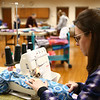 Robin Van Auken sews together material as she works with the local Days for Girls group on International Women's Day, Thursday, March 8, 2018, to create washable hygiene solutions for girls during their monthly menstrual cycles.<br /> Kelly Lafferty Gerber | Kokomo Tribune
