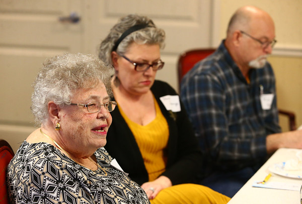 Barb Nichols, left, during the pizza and politics discussion on March 6, 2018.<br /> Kelly Lafferty Gerber | Kokomo Tribune