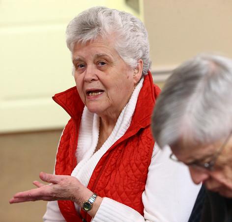 Mona Swinehart during the pizza and politics discussion on March 6, 2018.<br /> Kelly Lafferty Gerber   Kokomo Tribune