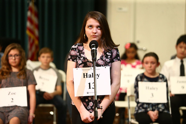 Haley Miller, from Rochester Community Middle School, thinks before spelling during the North Central Indiana Regional Spelling Bee at IUK on Thursday, March 22, 2018.<br /> Kelly Lafferty Gerber | Kokomo Tribune