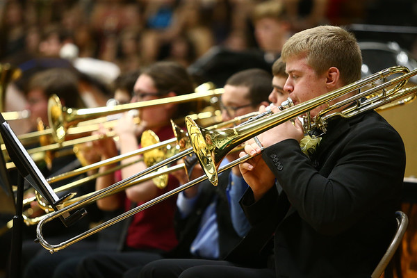 Western's Justice Williams plays the trombone with the festival band during their performance at the Howard County Music Festival at Eastern High School on Wednesday, March 14, 2018.<br /> Kelly Lafferty Gerber | Kokomo Tribune