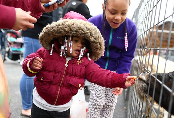 With help from her 7-year-old big sister Labreya Olivares, 1-year-old Jay'anna Coleman feeds a carrot to a goat at Fuel Church's Easter Festival on Saturday, March 31, 2018.<br /> Kelly Lafferty Gerber | Kokomo Tribune