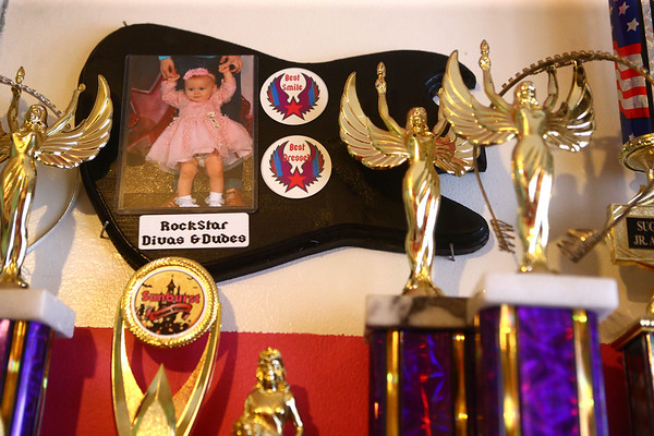 Pageant trophies and plaques line Aria's bedroom on February 8, 2018.<br /> Kelly Lafferty Gerber | Kokomo Tribune
