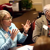 Sarah Brichford talks during the pizza and politics discussion on March 6, 2018.<br /> Kelly Lafferty Gerber | Kokomo Tribune