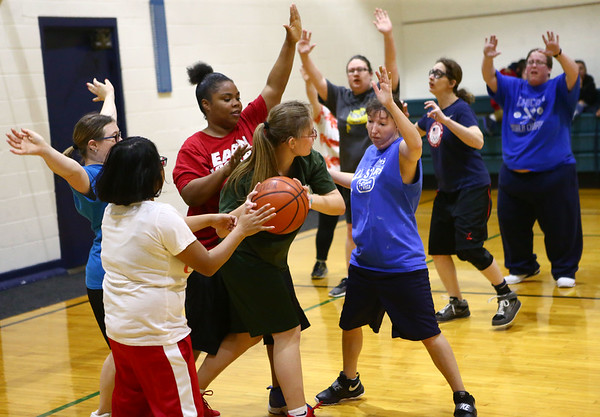 The Howard County Special Olympics girls basketball team practices on Tuesday, March 6, 2018, for their upcoming state finals game.<br /> Kelly Lafferty Gerber | Kokomo Tribune