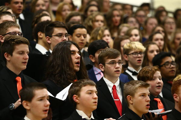 Eastern, Western, Northwestern and Taylor High Schools' choirs perform together during the Howard County Music Festival at Eastern High School on Wednesday, March 14, 2018.<br /> Kelly Lafferty Gerber | Kokomo Tribune