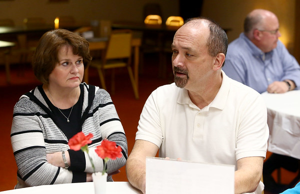 Bryan Alexander, right, along with Tammy Alexander were part of the Pizza and Politics discussion at First Friends Meeting on Thursday, March 15, 2018.<br /> Kelly Lafferty Gerber | Kokomo Tribune