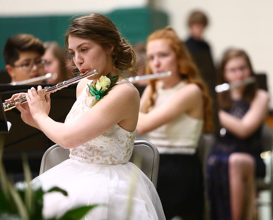 Eastern's Samantha Everling plays the flute alongside the county school bands during their performance at the Howard County Music Festival at Eastern High School on Wednesday, March 14, 2018.<br /> Kelly Lafferty Gerber | Kokomo Tribune