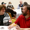 Jeremy Kennedy, right, talks with Tammy Alexander during Pizza and Politics at First Friends Meeting on Thursday, March 15, 2018.<br /> Kelly Lafferty Gerber | Kokomo Tribune