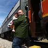 Jay Williamson disemarks the Bunny Hop Express with his 4-year-old daughter Corrine after the train arrives in Walton on Sunday, March 25, 2018.<br /> Kelly Lafferty Gerber | Kokomo Tribune