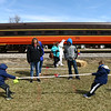 Kids play tug of war after the Bunny Hop Express makes a stop in Walton on Sunday, March 25, 2018. The Indiana Transportation Museum has one more day of Bunny Hop Express scheduled for multiple times next Saturday, March 31.<br /> Kelly Lafferty Gerber | Kokomo Tribune