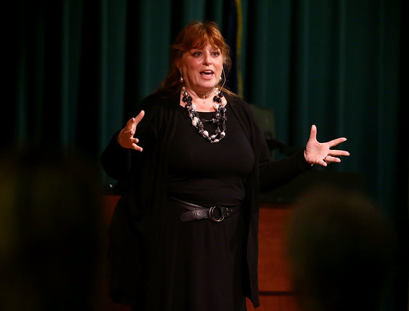 Kathleen Ligocki, CEO of Agility Fuel Solutions, speaks at IUK about her education and career on Friday, March 30, 2018. Ligocki has given a $1 million gift to IU Kokomo to be used for scholarships.<br /> Kelly Lafferty Gerber | Kokomo Tribune