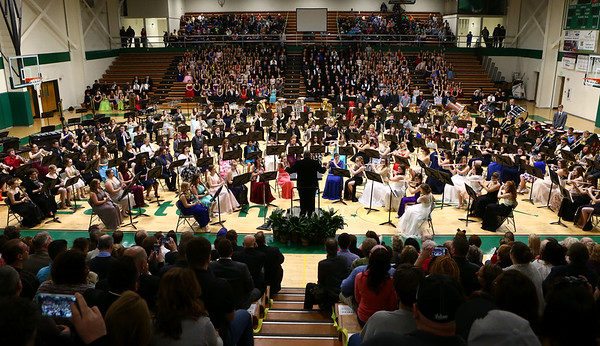 Eastern, Western, Northwestern and Taylor High Schools' bands perform together during the Howard County Music Festival at Eastern High School on Wednesday, March 14, 2018.<br /> Kelly Lafferty Gerber | Kokomo Tribune
