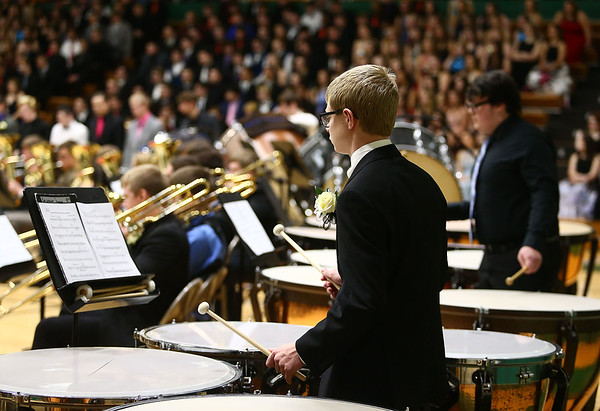Western's Cole Lockwood plays the drums as Eastern, Western, Northwestern and Taylor High Schools perform together during the Howard County Music Festival at Eastern High School on Wednesday, March 14, 2018.<br /> Kelly Lafferty Gerber | Kokomo Tribune