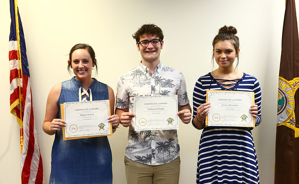 From left: Northwestern's Megan Osman, Western's Nathanael Knight, and Taylor's Jessica Shumaker were the first recipients of the Carl Koontz Memorial Scholarship on May 30, 2018.<br /> Kelly Lafferty Gerber | Kokomo Tribune