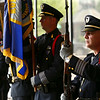 Kokomo Fraternal Order of Police President Jeramie Dodd stands at attention as part of the honor guard during Kokomo Police Department's Fallen Officer Memorial on Thursday, May 17, 2018.<br /> Kelly Lafferty Gerber | Kokomo Tribune