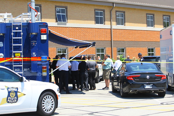 Noblesville Police and Noblesville schools held a press conference on Friday afternoon May 25, 2018, at Noblesville West Middle School where a morning shooting left a teacher and a student hospitalized. Police continue to gather at the mobile command at the school.<br /> Tim Bath   Kokomo Tribune