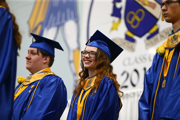 Chloe Bales smiles as she and some of her fellow classmates are recognized for their academic achievements during Tri-Central's 2018 graduation on Saturday, May 26.<br /> Kelly Lafferty Gerber | Kokomo Tribune