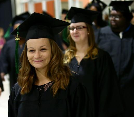 Rosanna Rushing smiles as she enters the Kokomo Event Center during the Ivy Tech graduation on Friday, May 11, 2018.<br /> Kelly Lafferty Gerber | Kokomo Tribune