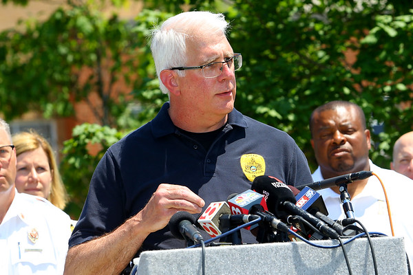 Noblesville Police and Noblesville schools held a press conference on Friday afternoon May 25, 2018, at Noblesville West Middle School where a morning shooting left a teacher and a student hospitalized. Noblesville Police Chief Kevin Jowitt talks about he shooting.<br /> Tim Bath   Kokomo Tribune