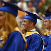 Trent Shaffer laughs as he watches a classmate speak on stage during Tri-Central's 2018 graduation on Saturday, May 26.<br /> Kelly Lafferty Gerber | Kokomo Tribune