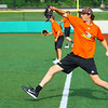 Jackrabbits held their first practice on Tuesday May 29, 2018. Mike Pachmayer warms up with the other pitchers.<br /> Tim Bath | Kokomo Tribune