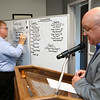 Republican chairman Marty Stout reads the numbers to Jack Dodd who writes them down at the Howard County Republican headquarters on primary election night, May 8, 2018.<br /> Kelly Lafferty Gerber   Kokomo Tribune