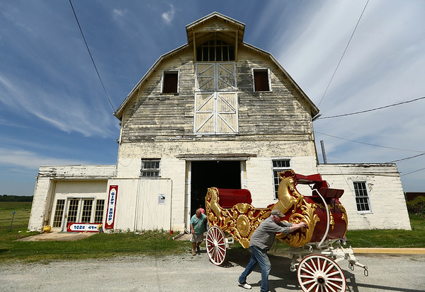 The International Circus Hall of Fame in Peru take out the Sig Sautelle bandwagon on May 16, 2018, to load up and take to Illinois for the 100th anniversary of the circus train crash that wiped out a third of the Hagenback Wallace Circus.<br /> Kelly Lafferty Gerber | Kokomo Tribune