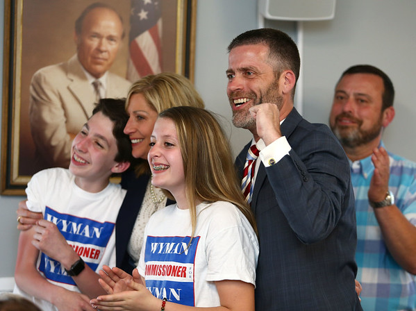 Paul Wyman celebrates with his family after the votes come in declaring him the winner of District 1 Commissioner during the Republican primary on May 8, 2018.<br /> Kelly Lafferty Gerber   Kokomo Tribune