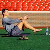 Yoga at the stadium lead up by Conner Sanburn on May 23, 2018. <br /> Tim Bath | Kokomo Tribune