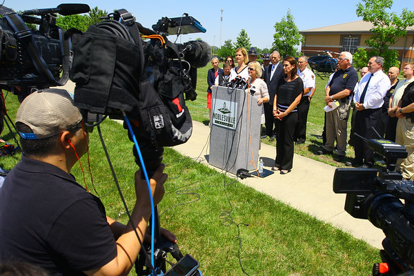 Noblesville Police and Noblesville schools held a press conference on Friday afternoon May 25, 2018, at Noblesville West Middle School where a morning shooting left a teacher and a student hospitalized. Noblesville schools Superintendent Dr. Beth Niedermeyer talks about the shooting.<br /> Tim Bath   Kokomo Tribune