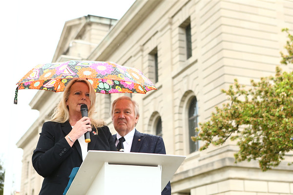 Katherine MacAulay, executive director of the American Red Cross NE speaks during the ceremony. Miami County honored its women of World War I during a ceremony unveiling a memorial marker in front of the Miami County Courthouse on Saturday, May 12, 2018.<br /> Kelly Lafferty Gerber | Kokomo Tribune