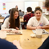 Maconaquah Middle School eighth graders Grace Lewis, left, and Allie Wilson make poppies out of clay in their art class on May 2, 2018, for Miami County's World War I memorial.<br /> Kelly Lafferty Gerber | Kokomo Tribune