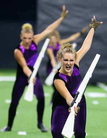 Colorguard member Phoenix McKee performs with the Western Marching Panthers in the Class C Marching Band State Championship at Lucas Oil Stadium on Saturday, November 3, 2018.<br /> Kelly Lafferty Gerber | Kokomo Tribune