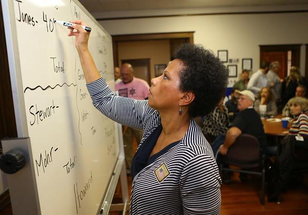 Leslie Fatum updates the election results at the Howard County Democrat headquarters on Tuesday, November 6, 2018. Kelly Lafferty Gerber   Kokomo Tribune